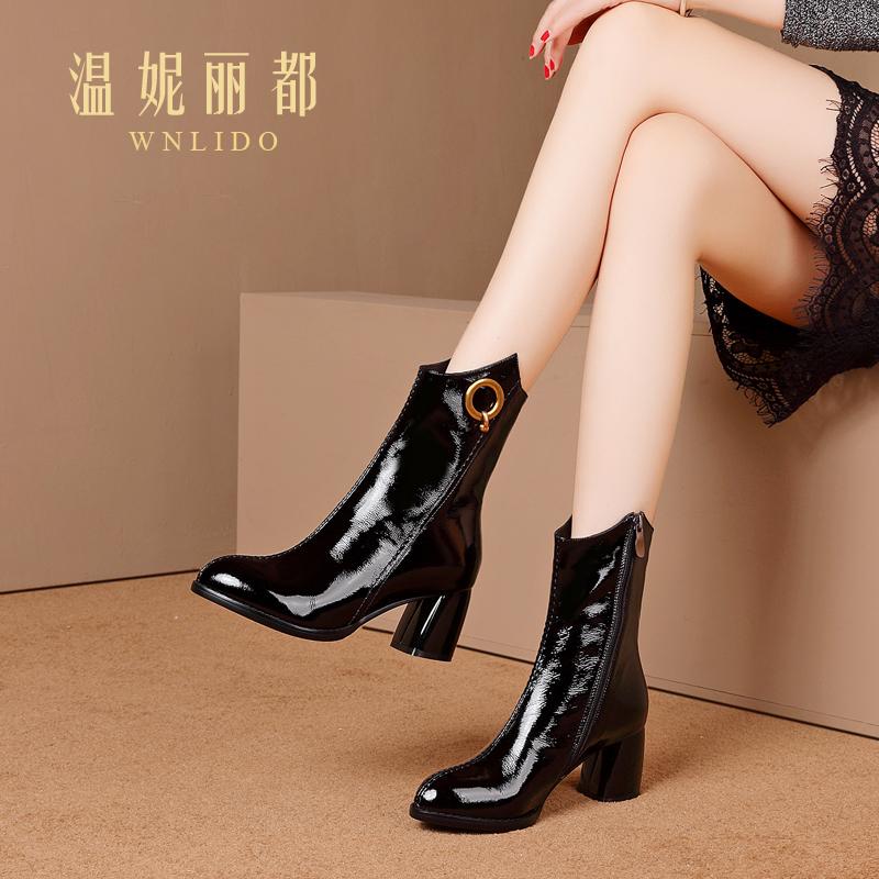 温妮丽都全牛皮粗跟中筒靴女2018新款尖头防水台欧美中高跟马丁靴