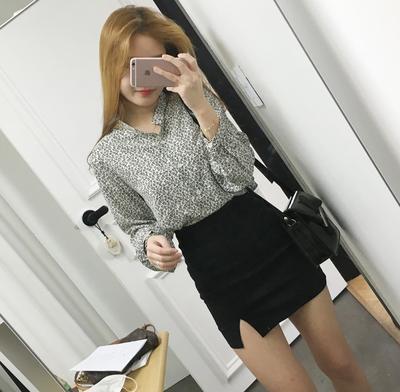 2018春夏新款韩版包臀裙高腰半身裙开叉弹力一步裙黑色职业短裙女
