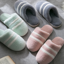 Buy a couple of cotton slippers female winter home indoor warm anti-skid home cute home Plush man