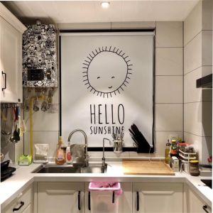 北欧卷帘窗帘遮光防水免打孔升降手拉字母厨房窗帘卫生间办公室