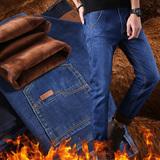 男士牛仔裤直筒宽松加绒加厚弹力秋冬季中年商务休闲男中高腰长裤