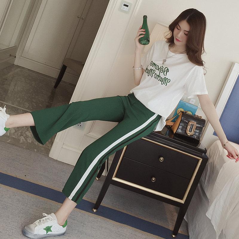 套装女装夏装学生喇叭裤整套衣服少女休闲两件套韩