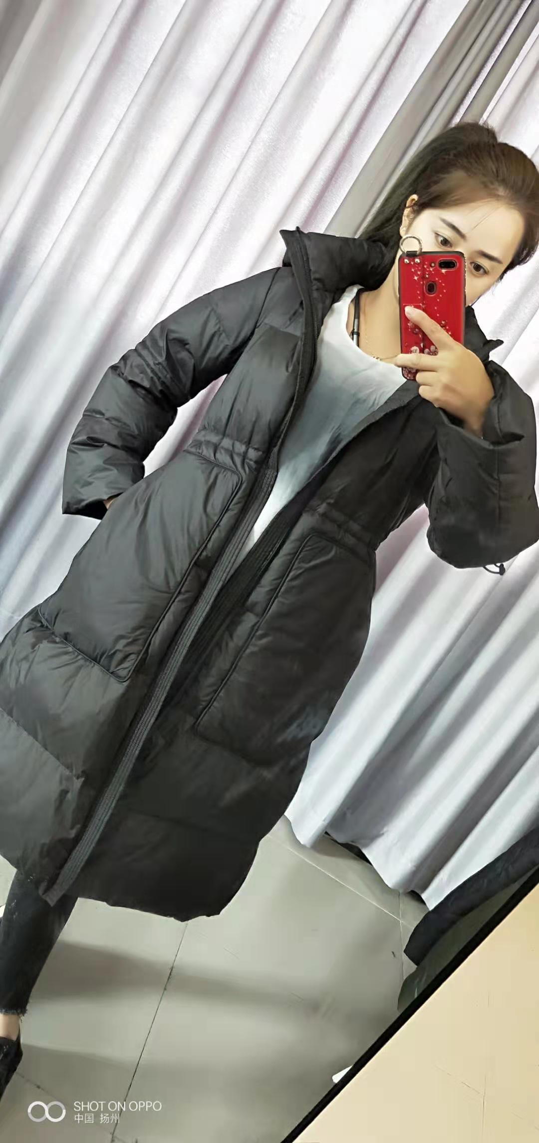 江南新款2019冬季中长款过膝立领抽绳显瘦带帽羽绒服A-5J9702680