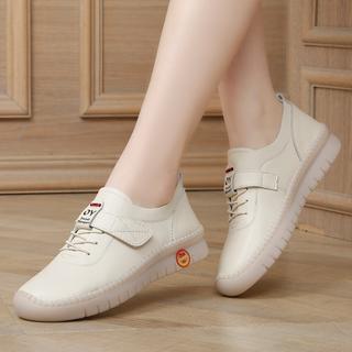 真皮女鞋百搭休闲平底鞋防滑轻便软底孕妇鞋时尚韩版春季软皮单鞋