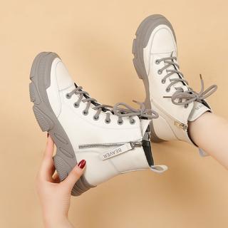秋冬款软底短靴牛皮单鞋单靴百搭厚底女鞋休闲平底鞋韩版高帮潮鞋