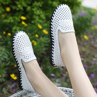 2020新款百搭透气休闲鞋豆豆软底夏季小白鞋镂空平底真皮单鞋女鞋
