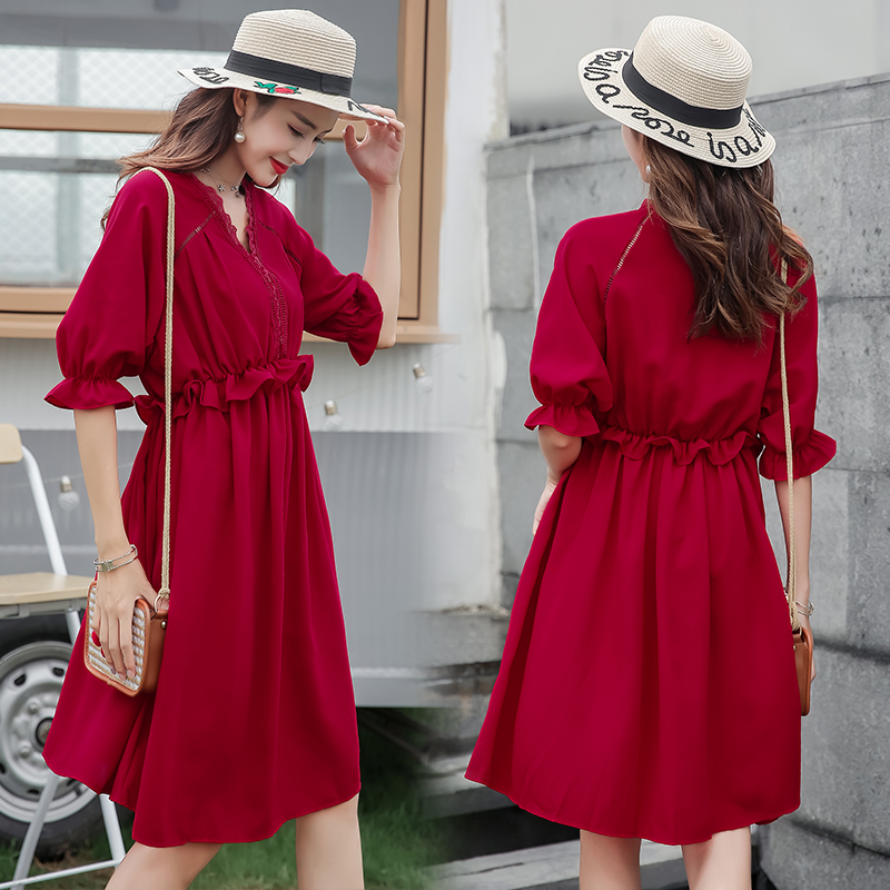 红色孕妇新娘夏装宽松夏款连衣裙(非品牌)