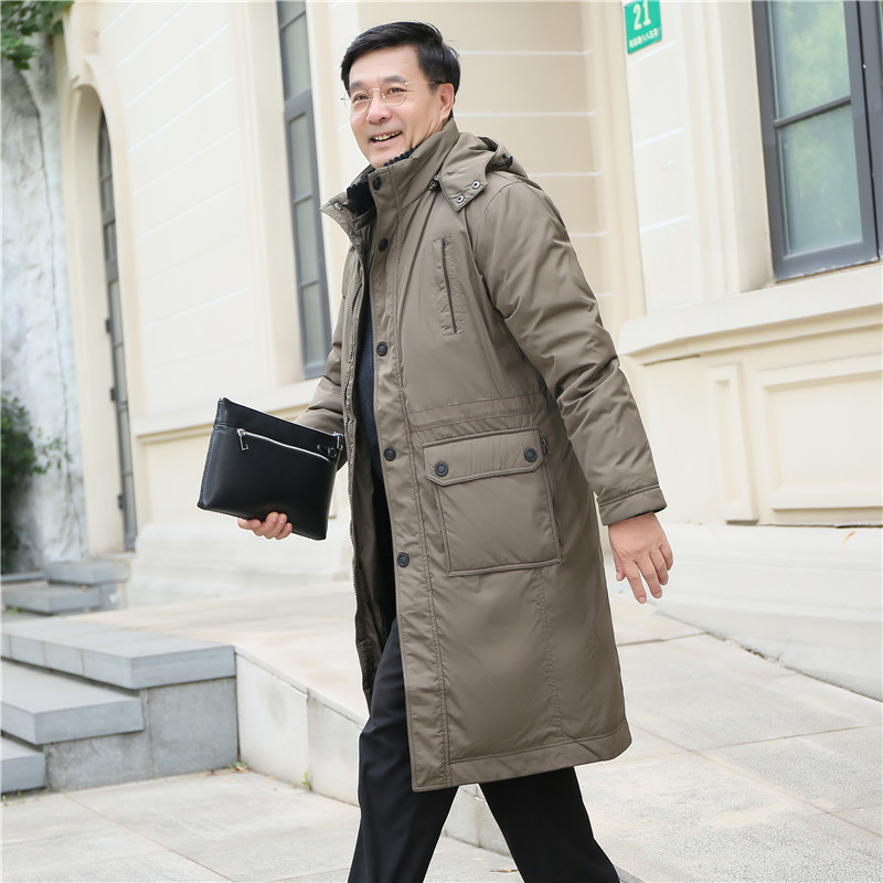 Detachable middle-aged and elderly down jacket mens long thickened large over knee dads live face down jacket winter suit