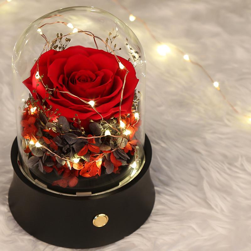 【蓝牙音箱永生花礼盒】七夕带灯玻璃罩玫瑰花康乃馨母亲节