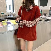背心韩版秋冬女外搭宽松格子毛衣