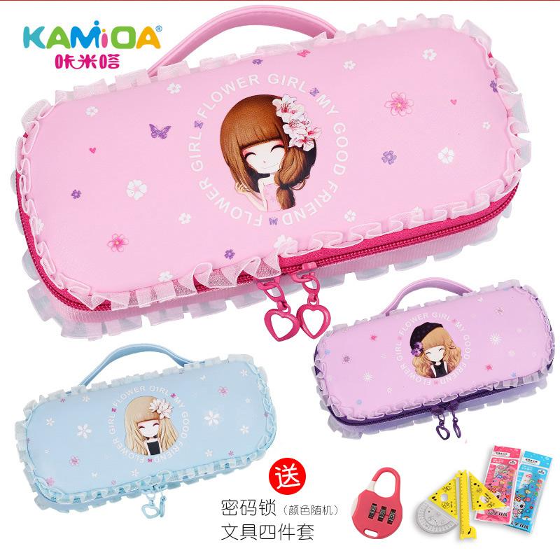 花花姑娘笔袋韩国文具盒简约女生小学生小清新可爱公主儿童铅笔盒