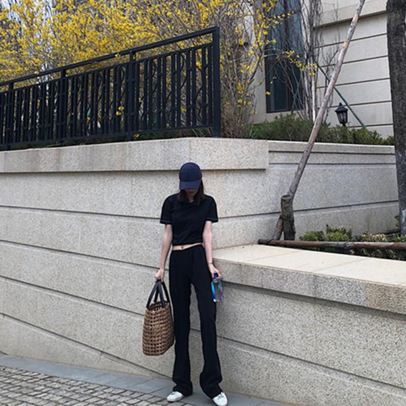 春夏新款黑色空调高腰显瘦阔腿裤女薄款垂坠飘逸拖地宽腿2019