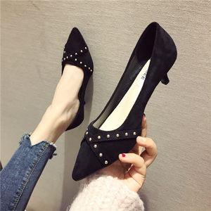 2020春夏季新品细跟女鞋3厘米低跟黑色浅口尖头单鞋铆钉款舒服鞋