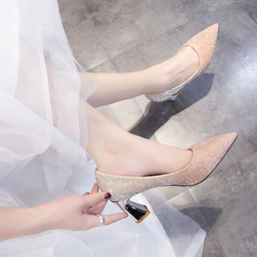 主婚纱婚鞋2020年新款结婚鞋子新娘鞋香槟色高跟伴娘鞋粗跟单鞋女