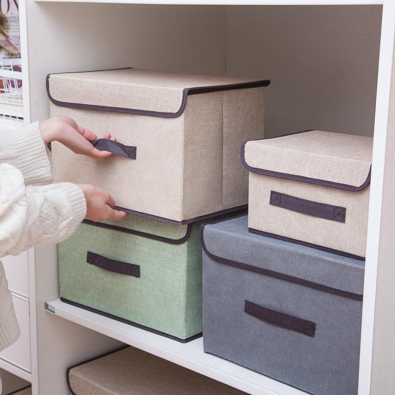 买三送一布艺收纳箱储物箱防尘整理盒收纳盒衣物杂物储物盒带盖