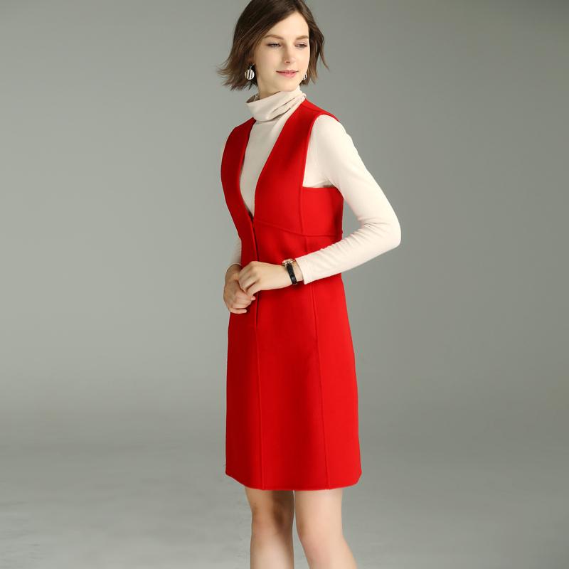 收腰无袖中长连衣裙