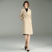 羊毛外套 手工大衣纯色欧美秋冬装 双面呢冬款 羊毛大衣女直筒中长款