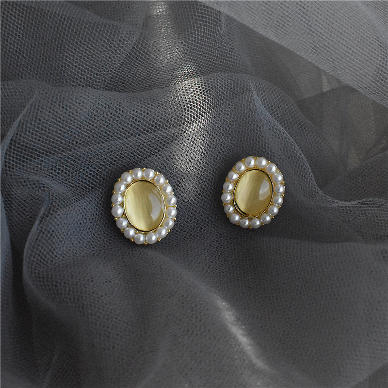 S925 silver needle geometry pearl oval opal temperament simple retro Court Style Earring Jewelry package mail