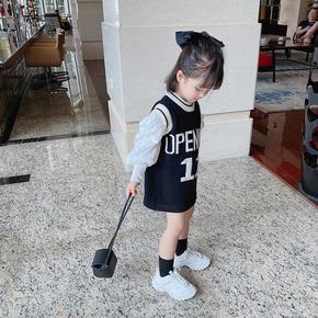 女童2021春装新款洋气针织背心裙儿童毛衣连衣裙宝宝加长毛线马甲