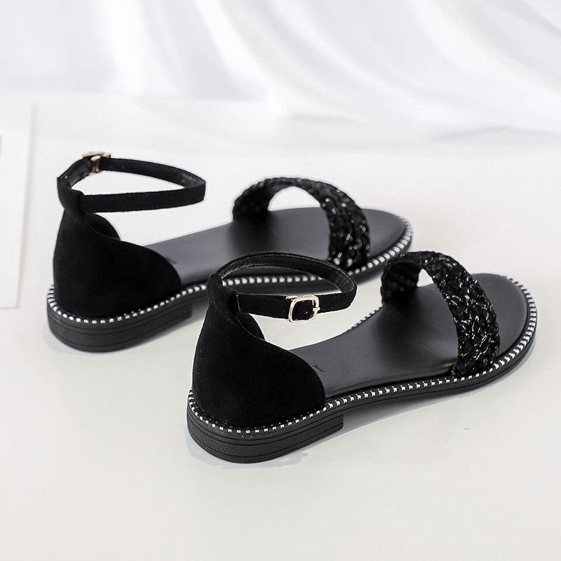 Flat sandals womens 2020 new summer versatile fairy lady shoes summer black woven one line Roman shoes