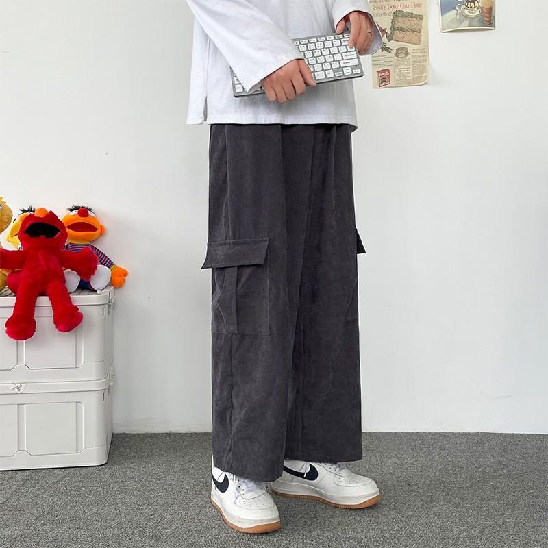 港风机能工装裤男高街潮流宽松直筒休闲裤男士垂感阔腿灯芯绒裤子
