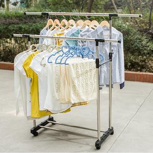 简易晾衣杆卧室内伸缩家用 落地折叠晒衣架阳台晾衣架不锈钢双杆式