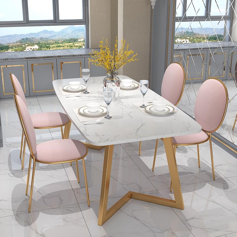不包邮北欧大理石餐桌长方形家用吃饭桌子