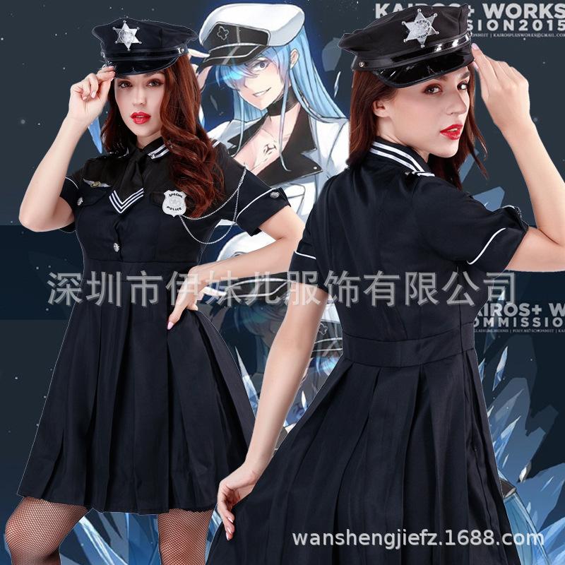 大码情趣内衣服小胸透视女警制服连衣裙性感激情套装短袖cosplay