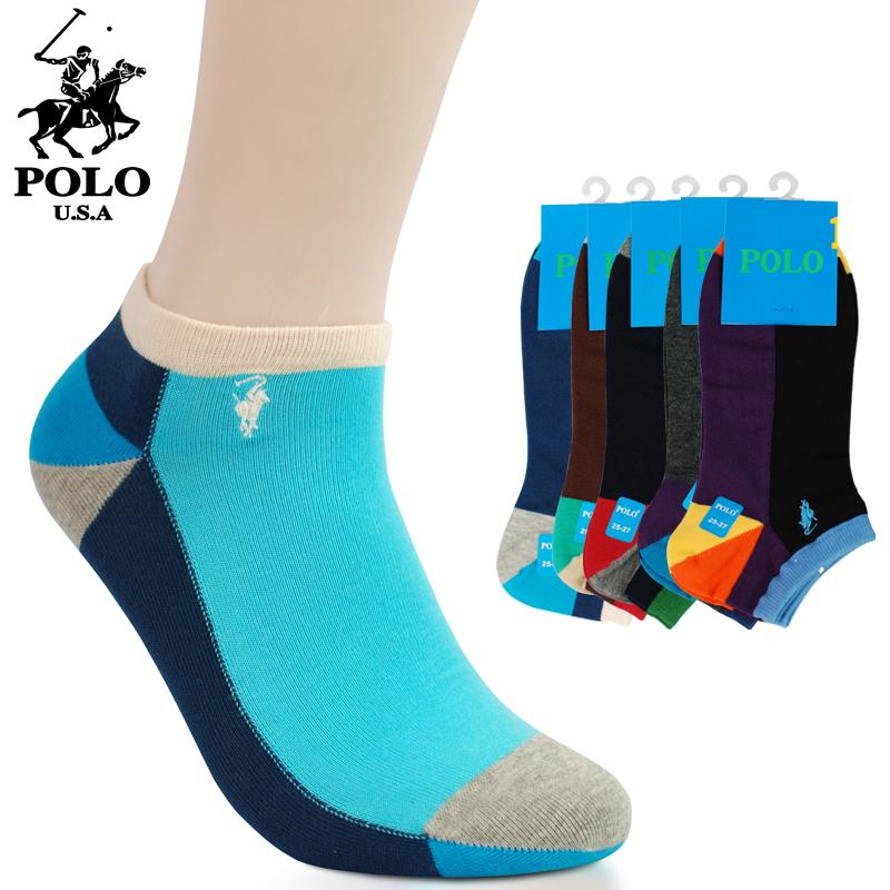 正品POLO全棉男士短筒袜子 夏季防臭纯棉彩色潮男船袜厂家批发