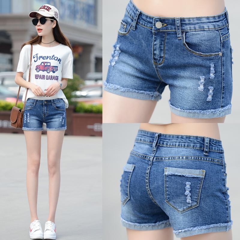 2017 дикий новый отверстие ковбой шорты женщина лето эластичность горячей брюки студент тонкий корейский заусенец шорты волна