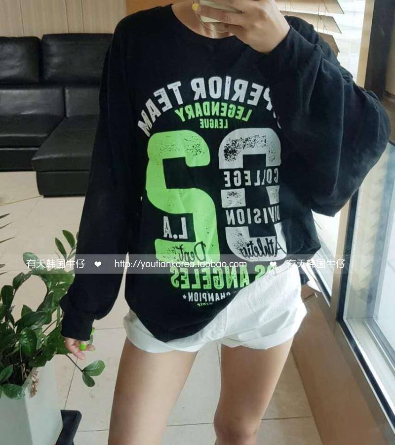 韩国东大门代购19秋夏显卡宽松大码字母做旧中长款长袖T恤女纯棉