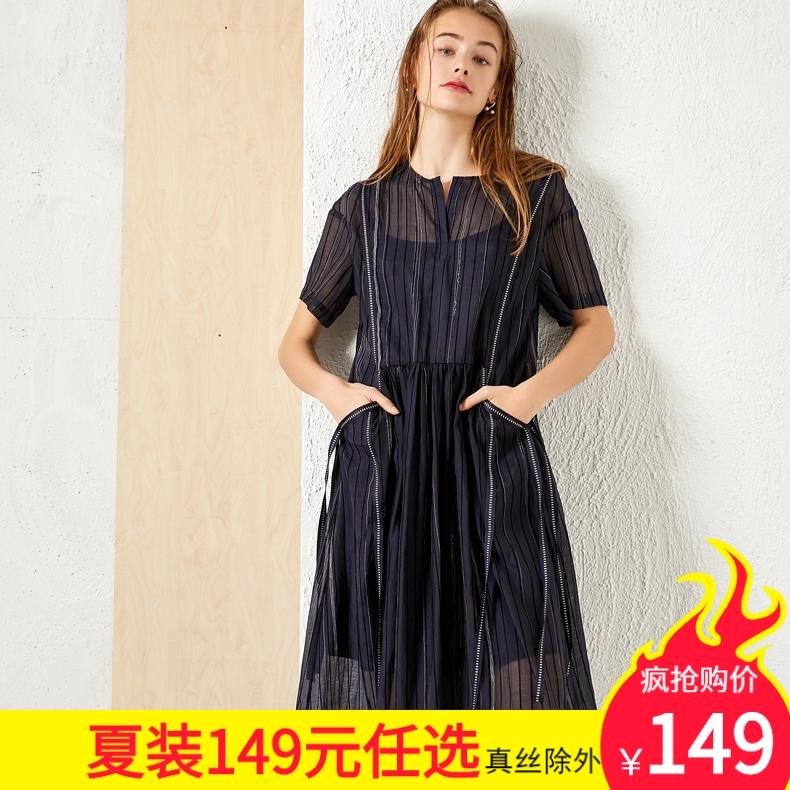 Yuyanyuans casual loose line dark blue black short sleeve Knee Length Dress