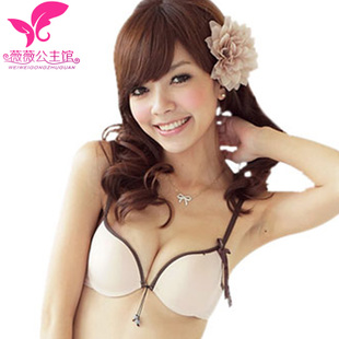 Japanese minimalism girls gather thick bra Seamless deep V lovely girl sexy underwear