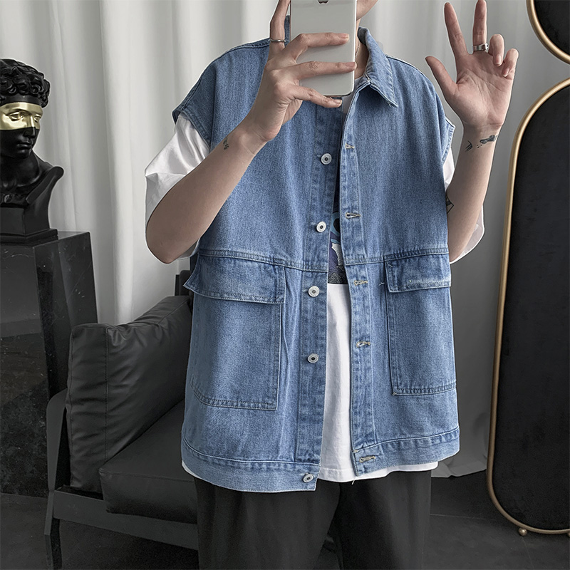 Spring and autumn handsome jeans jacket jacket mens Korean version loose ins work clothes sleeveless jacket vest Ma Jiaxia