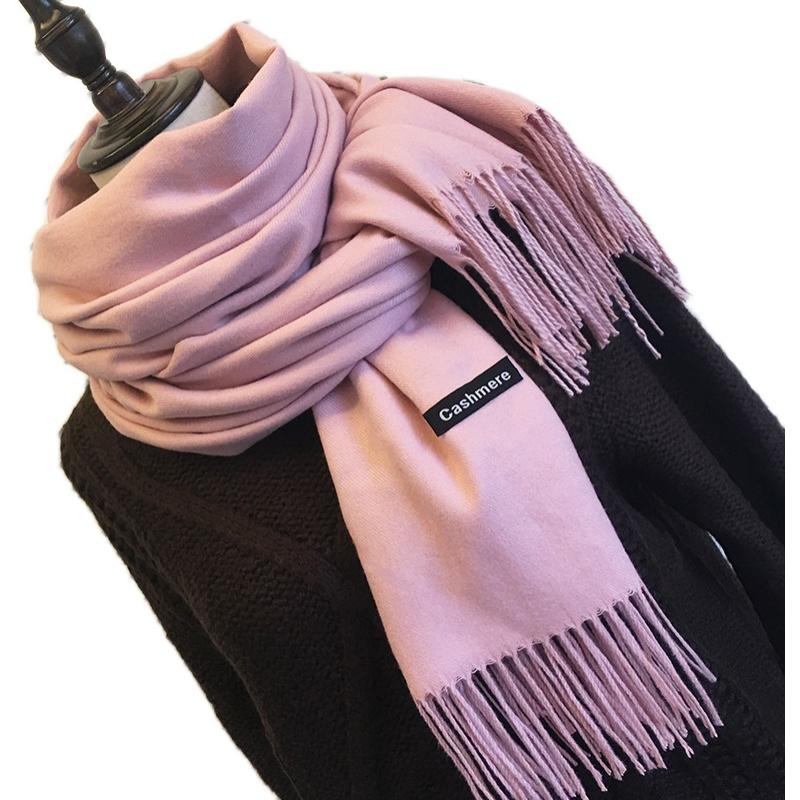 定制LOGO纯色羊毛围巾女秋冬百搭长款披肩两用加厚仿羊绒保暖围脖