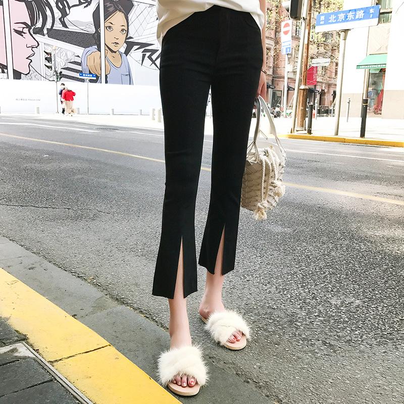 【粉丝专享69.9】大码女装修身显瘦高腰弹力微喇九分裤200斤胖m