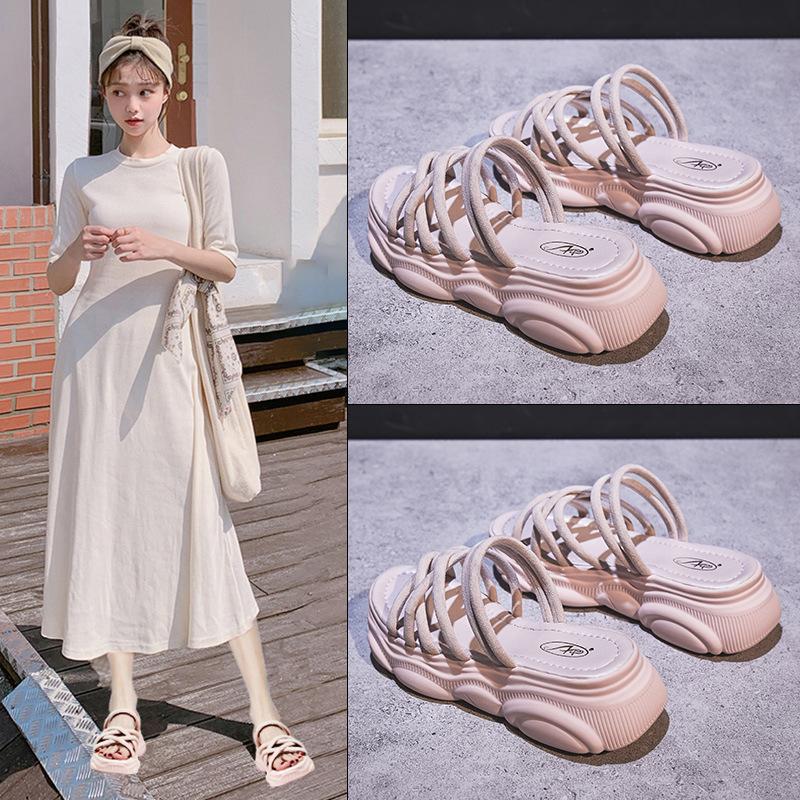 女鞋新款夏季凉鞋女士百搭鞋子厚底运动网红仙女风时尚ins潮热销0件有赠品
