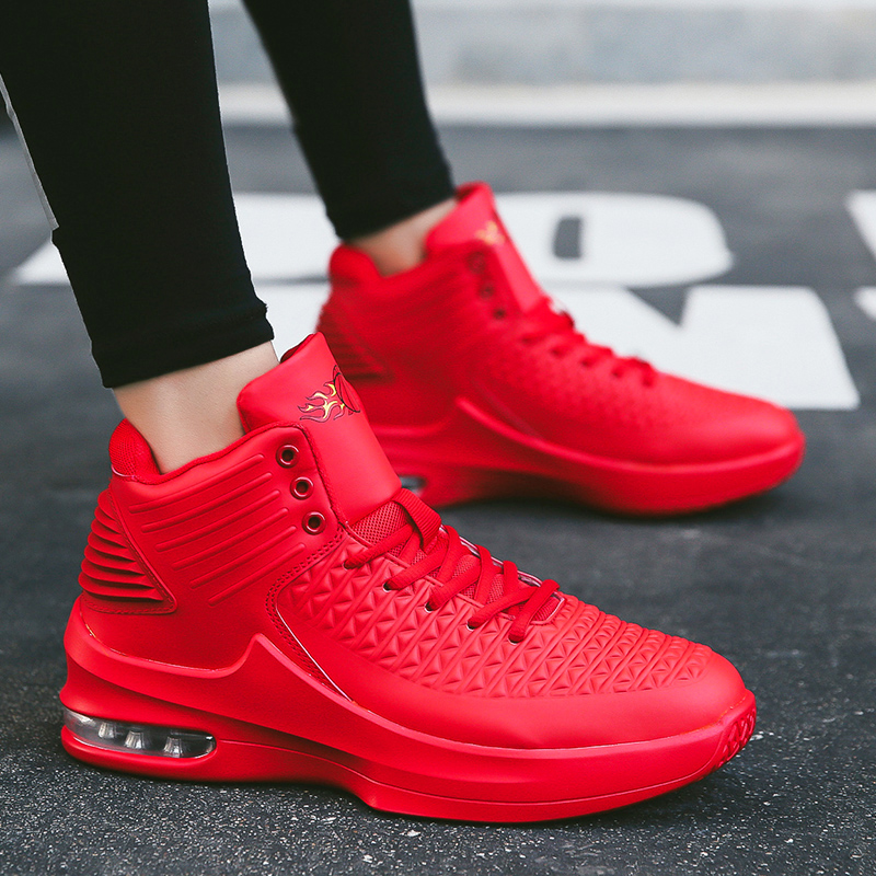 Spring mens high top red shoes red sports heightening leisure thick bottomed Basketball Size 38 mens shoes light tidal shoes