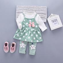 2017春季新款 韩版儿童女童马甲裤套装 三件套套装 童装