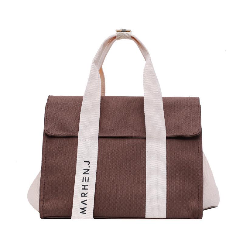 Large capacity canvas bag Hong Kong style womens handbag 2020 New Retro simple literary style Single Shoulder Messenger Handbag