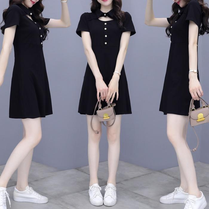 小黑裙2021年夏季新款女装气质显瘦短袖polo领短款连衣裙