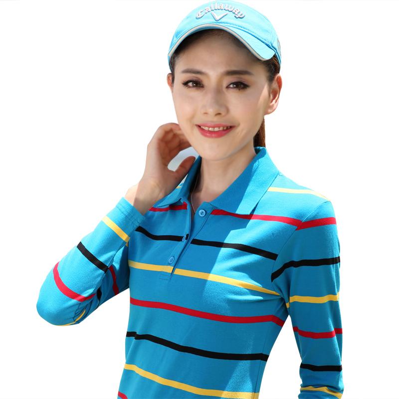 Poliqi T-shirt pure cotton Lapel polo shirt sports womens top long sleeve lead bottoming shirt womens striped T-shirt summer