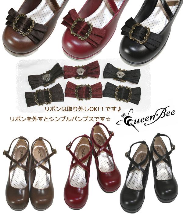 日系Lolita Lolitaハイヒール丸太と取り外し可能なリボンLO女性靴撮影アニメシューズ