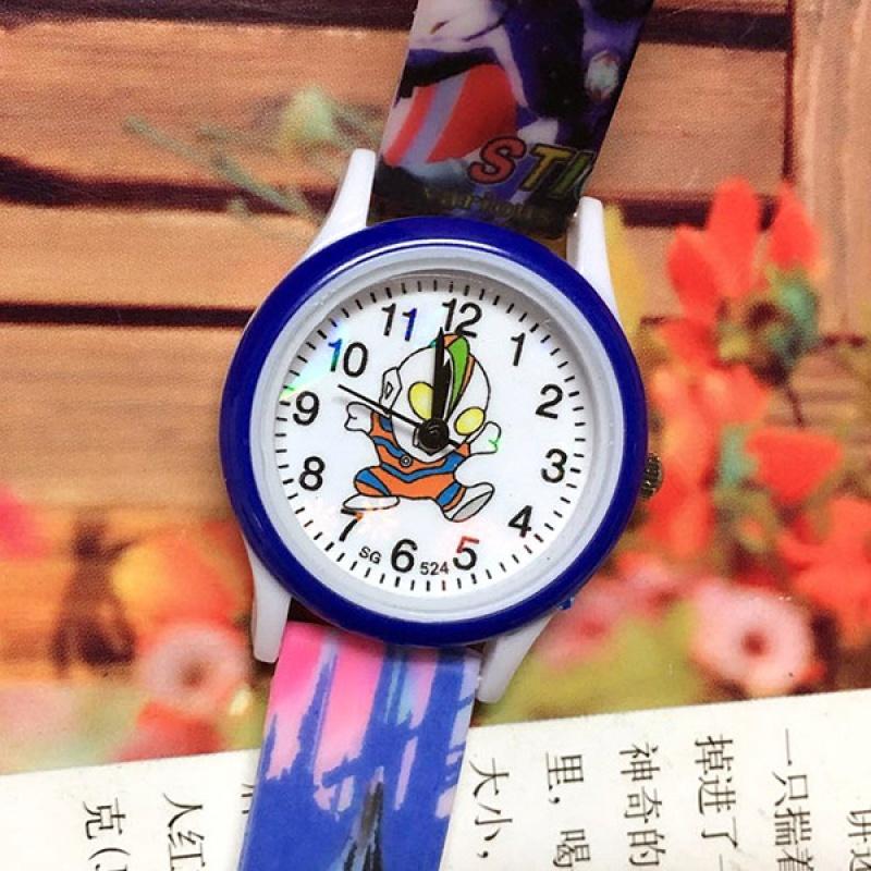 新款奥特曼超人硅胶印花儿童石英机芯针扣手表男孩休闲腕表