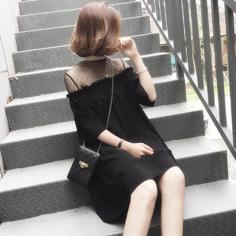 胖妹妹遮肉连衣裙女2021新款夏天时尚网纱打底裙子为微胖穿搭上衣