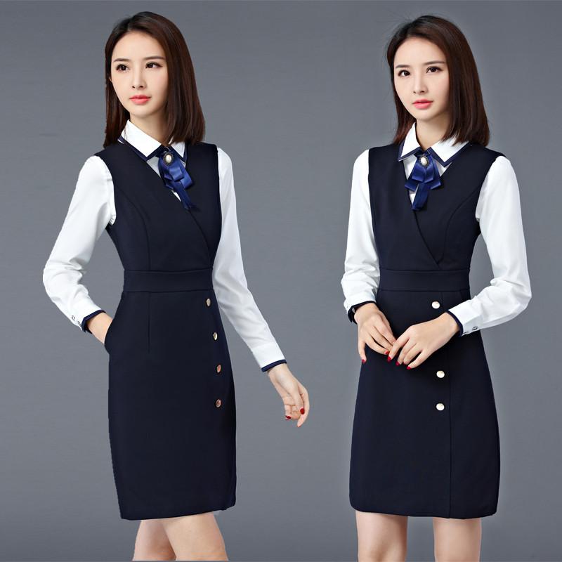 职业装 女 秋冬新款时尚OL修身白衬衣马甲裙两件套工作服女装套装