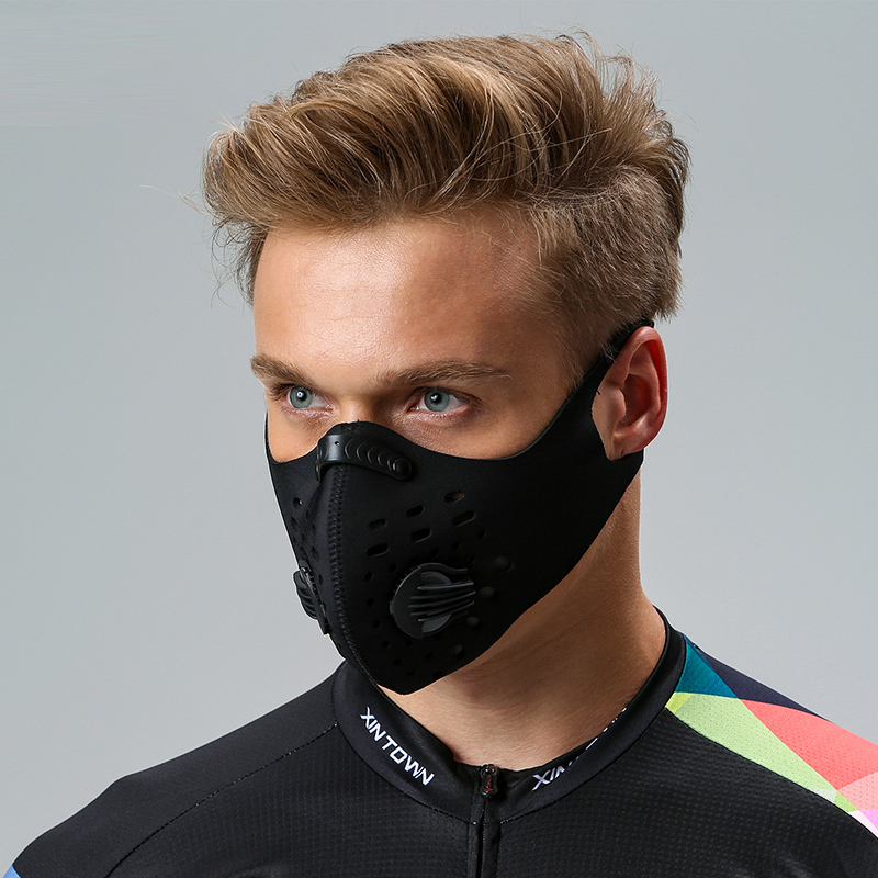 Winter activated carbon sports running riding kn95 mask for mens fashion individual dustproof, breathable, anti haze and windproof