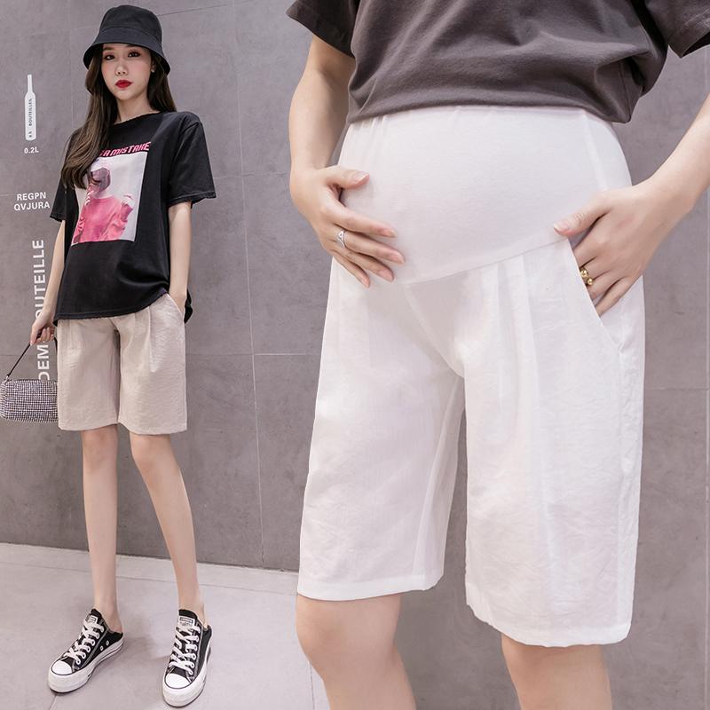 孕妇棉麻短裤夏季五分裤孕妇托腹裤时尚薄款宽松休闲裤子外穿中裤
