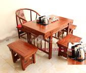榆木雕花小茶桌仿古电磁炉桌台椅子组合卷书桌 便宜实木功夫桌特价