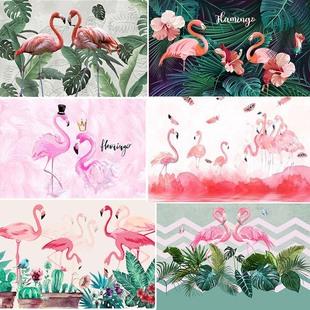 北欧火烈鸟壁纸ins粉色网红抖音自粘墙纸服装美容院背景壁画墙布